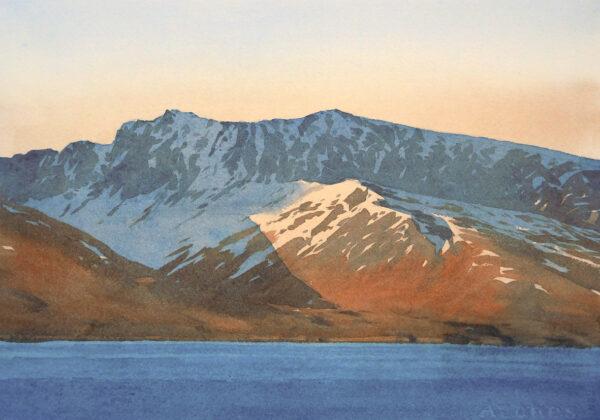 Evening light in Isfjorden, Svalbard. September 2016.